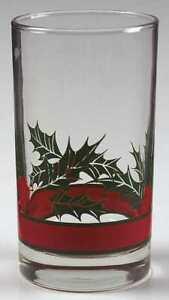 "HOLLY & BERRIES Flat Tumbler Libbey Rock-Sharpe MINT Christmas 5"" 11-Ounce"
