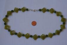 Kanada Jade-Kette(Viereck/Gewelt, 15x6,Kugel, 8,2mm. L=50,5cm) L0154/L