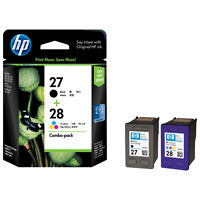 GENUINE ORIGINAL HP 28 COLOUR & 27 BLACK CARTRIDGES 2 YEAR GUARANTEE FASTPOSTAGE