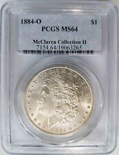 1884 O Silver Morgan Dollar PCGS MS 64 McClaren Collection Hoard Pedigree Coin