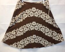NEW Roxy Hawaiian Print Skirt Brown White Flared A-Line Women's Size Small