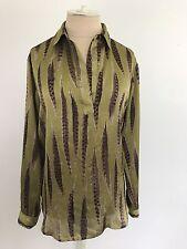 Michael Kors Green Feather Print Blouse Size XS