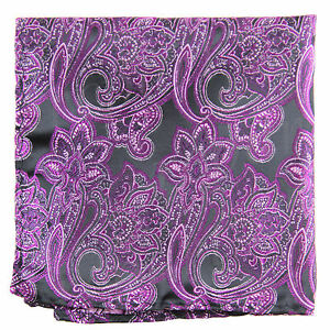 New Men's Polyester Woven pocket square hankie only purple paisley wedding