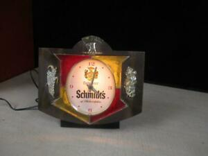 VINTAGE SCHMIDTS BEER LIGHT SIGN CASH REGISTER CLOCK