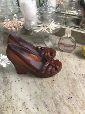 TARYN ROSE Size 8 Brown Leather Strappy Wedge Sandals Shoes