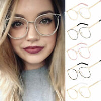 Women Eyeglasses Cat Eye Metal Shield Clear Lens Eyewear Sunglass Plain Mirror