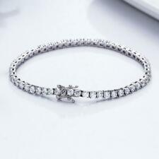 "Certified 6.00Ct Round Cut VVS1/D Diamond Tennis Bracelet 7"" Real 14k White Gold"