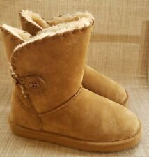 Womens LAMO SNOWMASS ESSENTIAL Chestnut Suede Faux Fur Lined Ankle Boots Size 7