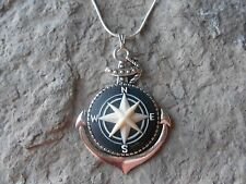 STUNNING COMPASS CAMEO PENDANT NECKLACE - QUALITY- .925 PLATED CHAIN, NAUTICAL
