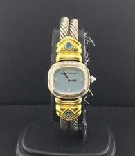 David Yurman 20mm Two Tone Silver & 18k Yellow Gold Baby Blue Diamond Dial