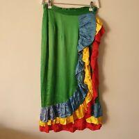 Vtg Handmade Satin Green Colourful Wrap Ruffle Midi Maxi Skirt S High-Waisted