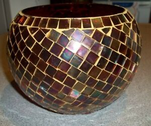 "NIB Beautiful Handmade Mosaic Tile Bowl Dish 5"" X 4 6/8"" Holidays Candle Holder"