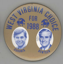 1988 MICHAEL MIKE DUKAKIS West Virginia WV Political PIN Button PINBACK Badge
