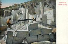 BERMUDA STONE QUARRY LABORERS AT WORK EARLY VIEW POSTCARD