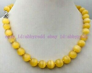 Fashion 10mm Yellow Mexican Opal Cat's Eye Gemstone Round Beads Necklace 18''