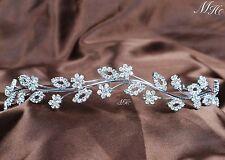 Flowers Girl Headband Clear Rhinestones Tiara Hairwear Wedding Bridal Prom Party