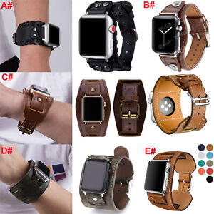 Leather Wrist Band Cuff Strap For Apple Watch iWatch Series SE 6 5 4 3 40mm 44mm