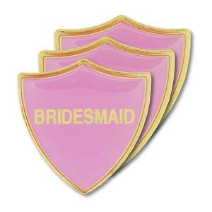 Bridesmaid Pink Wedding Shield Badge