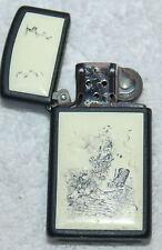 Vintage  Black Matte  Scrimshawed Tall Ship And Lighthouse Zippo Lighter enamel