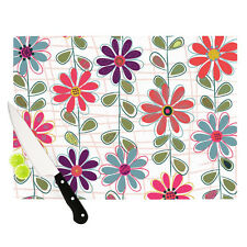 "Kess InHouse "" FALL FLOWERS "" Cutting Board Art Glass 11.5 by 15.75-Inch NIB"