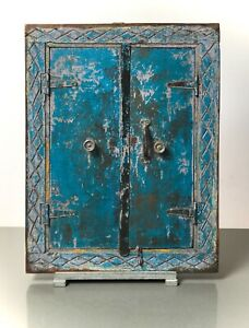 ANTIQUE VINTAGE INDIAN SHUTTERED WINDOW MIRROR. FADED TURQUOISE, LILAC & YELLOW.