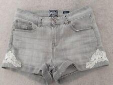 Superdry Ladies Denim Shortie Shorts Size  28W Lace Destressed Faded Black Grey