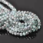 100pcs 3mm Rondelle Faceted Crystal Glass Loose Beads Silver&Opaque Lt Lake Blue