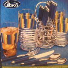 GIBSON BLUE Metal  FLATWARE Caddy  4 GLASSES TUMBLERS 20 pc Cutlery Utensils NIB