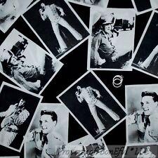 BonEful Fabric FQ Cotton Quilt B&W Antique VTG Rock Guitar ELVIS Music Portrait