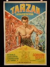 TARZAN'S FIGHT FOR LIFE * GORDON SCOTT * BRENT *ARGENTINE 1sh MOVIE POSTER 1958