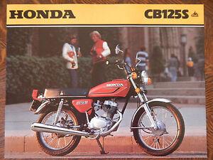 79 Honda CB125S NOS OEM DEALER'S Sales Hoja Literatura Folleto