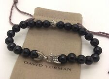 David Yurman 925 Sterling Silver 8mm Black Onyx Shine w 1 Beads Men's Bracelet