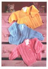"""Baby Prem Matinee Coat & Cardigans Round/V Neck  12"""" - 20"""" DK Knitting Pattern"""