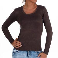 sexy Basic Sweatshirt Shirt Pulli Pullover Rund Ausschnitt Braun 34 36 38