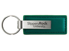 Slippery Rock University of Pennsylvania - Leather and Metal Keychain - Green