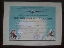 BREVET ELEMENTAIRE DES SPORTS AERIENS~AERO-CLUB de SENS 1947~VOL A VOILE~PLANEUR