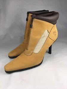 Timberland Women's Sz 9M High Heel Zip Up Stiletto Boots Booties Leather Brown
