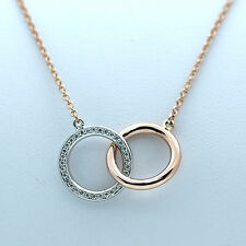 """CIRCLE STYLE DIAMOND NECKLACE 14K ROSE GOLD WITH 0.39 CARAT """"DOUBLE SIDED"""""""