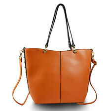 Orange and Black Large Handbag Tote Shopper with Large Clutch Faux Leather