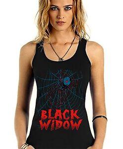 Velocitee Ladies Vest Black Widow Spider Arachnid Festival Rave V33