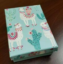 Whimsical Llama Themed Small Storage Gift Box Llamas & Cactus Trinket Holder