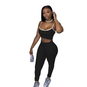 Women Fashion Spaghetti Strap Vest Solid Color Bodycon Casual Pants Set 2pcs