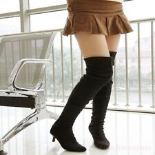 Womens Suede Kitten Heel Pointy Toe Clubwear Pull On Over Knee Thigh High Boots
