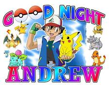 "POKEMON Personalized PILLOWCASE #2 ""Good Night"" Any NAME Printed Great Gift"