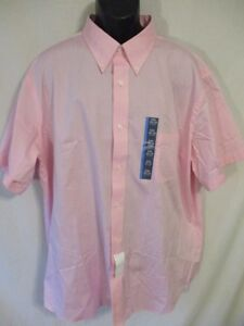 Croft & Barrow Cotton Blnd Classic Fit Pink Short Slve Button Shirt SR$36 NEW