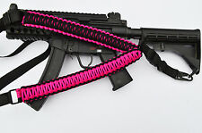 Tactical 550 Paracord Rifle Gun Sling 1 Point QD Airsoft Hunt (Hot Pink / Black)