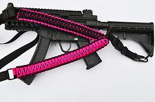 Tactical 550 Paracord Rifle Gun Sling 1 Point QD Airsoft Hunt (Hot Pink / Black)