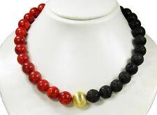 Wunderschöne Edelsteinkette aus Lava und Korallen in Kugelform-626