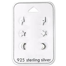 925 Sterling Silver Lightning Bolts Star Moon Stud Earrings Children Women Men