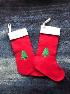Marks And Spencer Red Felt Christmas Stockings X 2